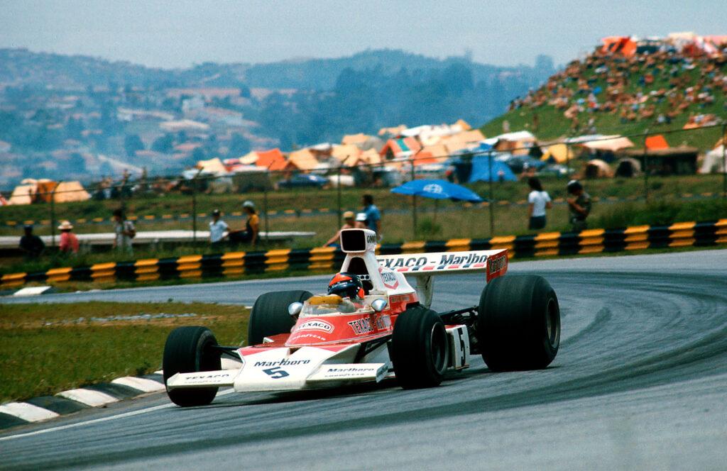 1974 Brazilian Grand Prix. Interlagos, Sao Paulo, Brazil. 25-27 January 1974. Emerson Fittipaldi (McLaren M23 Ford) 1st position. Ref-74 BRA 06.
